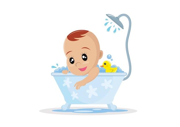 Bébé prend un bain. Vecteur Premium