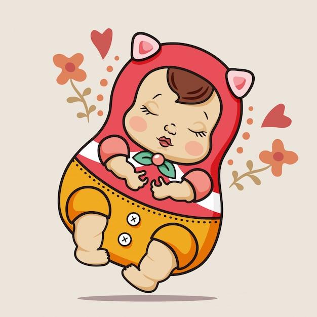 Bébé qui dort Vecteur Premium
