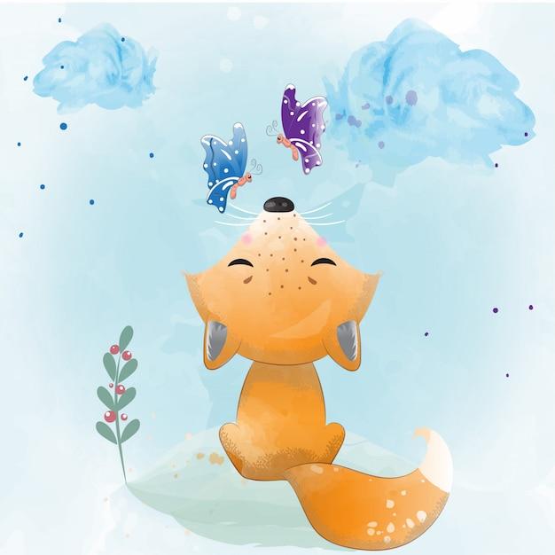 Bébé renard peint à l'aquarelle Vecteur Premium