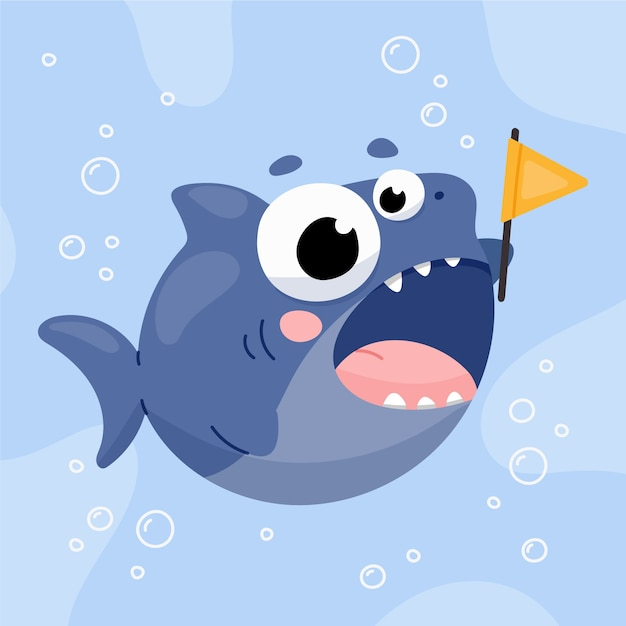 Bébé Requin Au Design Plat Vecteur gratuit