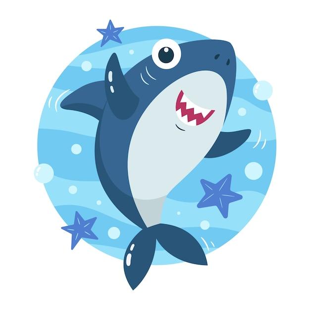 Bébé Requin Dans Le Concept De Style Dessin Animé Vecteur gratuit