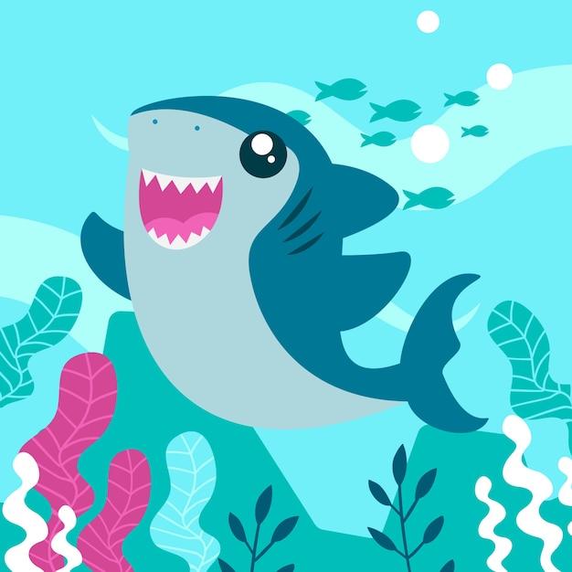 Bébé Requin En Style Cartoon Vecteur gratuit