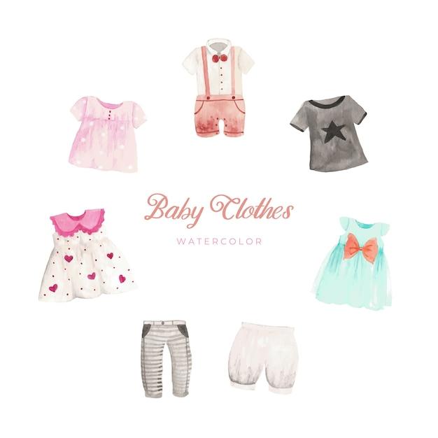 Bébé Vêtements Aquarelle Vecteur Premium