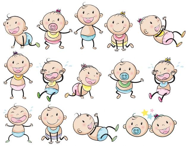 Bébés ludiques Vecteur gratuit