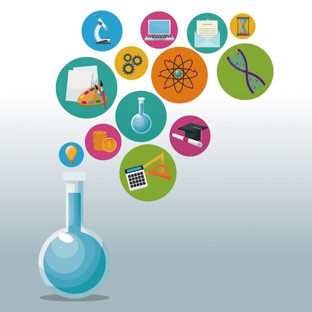 Bécher en verre pour laboratoire avec des bulles icônes connaissances académiques Vecteur Premium