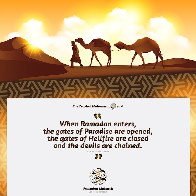 Bédouins et chameaux dans les dunes du désert sous le ciel Vecteur Premium