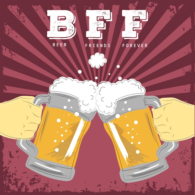 Beer friends forever illustration Vecteur Premium