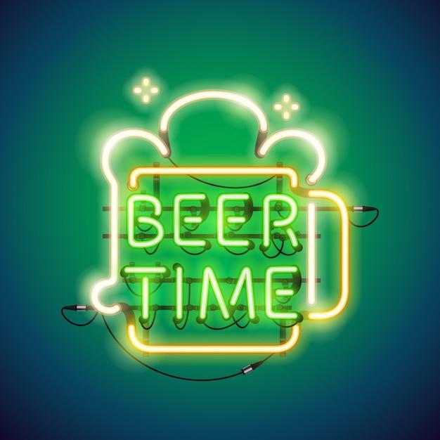 Beer time au néon Vecteur Premium