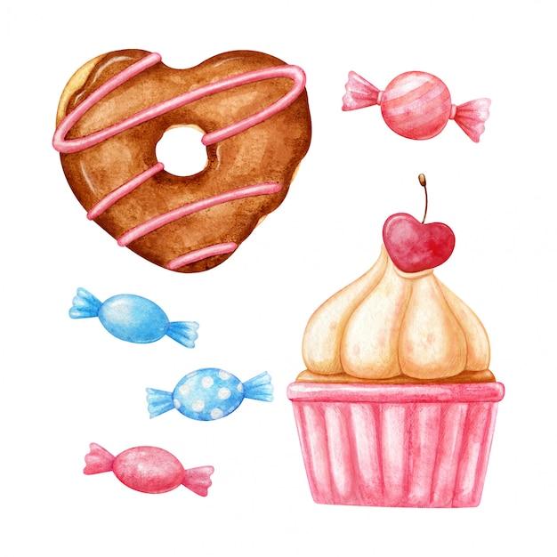 Beignet Aquarelle En Forme De Coeur, Cupcake Avec Cerise En Forme De Coeur Et Joli Petit Bonbon En Rose Et Bleu. Vecteur Premium