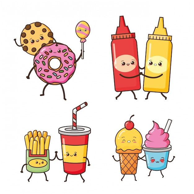 Beignet, frites, crème glacée nourriture kawaii, illustration Vecteur gratuit