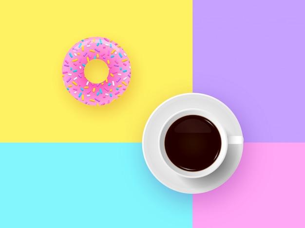 Beignet et tasse de café pop Vecteur Premium