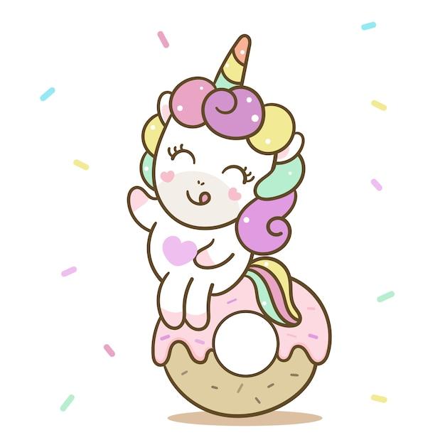 Beignet de vecteur joyeux anniversaire licorne mignon Vecteur Premium