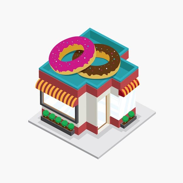 Beignets bâtiment isométrique Vecteur Premium