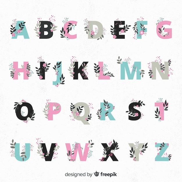 Bel alphabet avec des fleurs Vecteur gratuit
