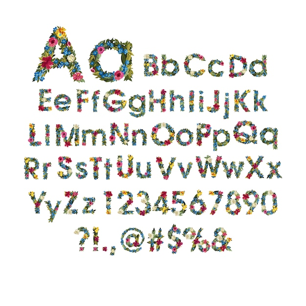 Bel alphabet floral avec des fleurs. Vecteur Premium