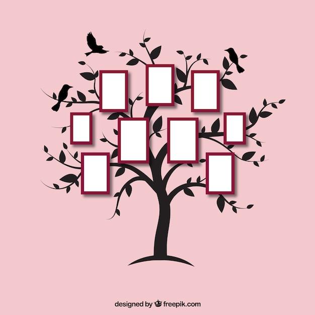 Bel arbre plat avec cadres photo Vecteur gratuit