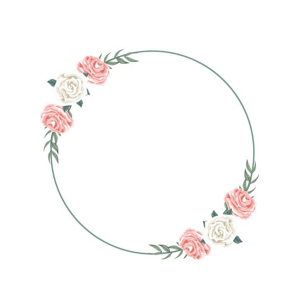 Bel Arrangement De Couronne Florale Pour La Dédicace Vecteur Premium