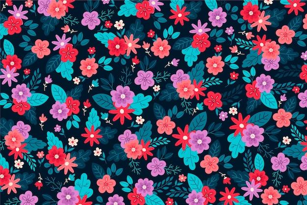 Bel arrangement de fond floral ditsy Vecteur gratuit