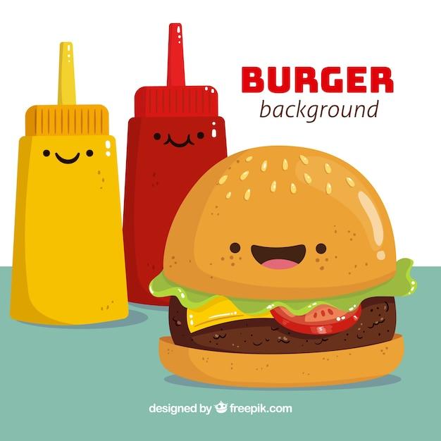 Un bel arrière-plan avec des personnages de hamburger et de sauces Vecteur gratuit
