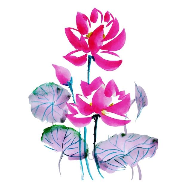 Bel élément floral aquarelle Vecteur gratuit