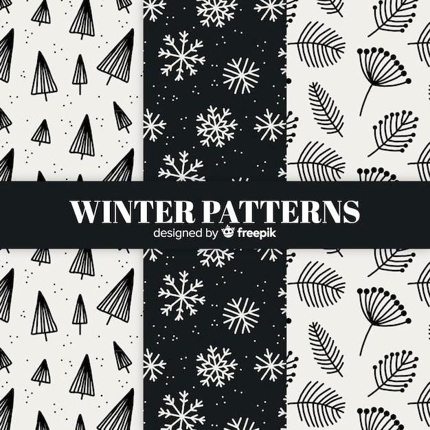 Bel ensemble de motifs d'hiver colorés Vecteur gratuit