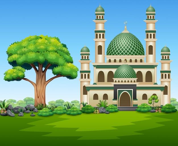 Un bel immeuble mosquée sur la nature Vecteur Premium