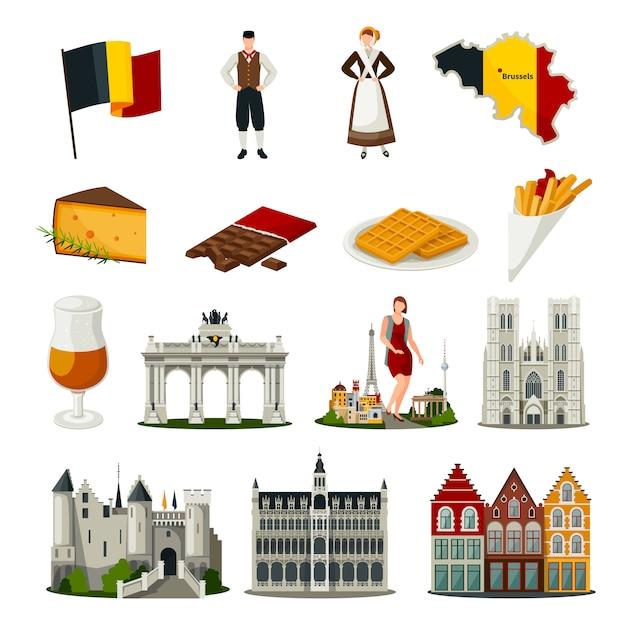 Belgium Flat Style Icons Set Vecteur gratuit