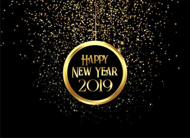 Belle 2019 bonne année brille Vecteur gratuit