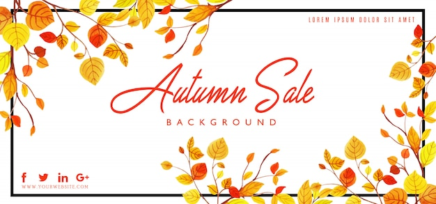 Belle aquarelle automne feuilles fond Vecteur Premium
