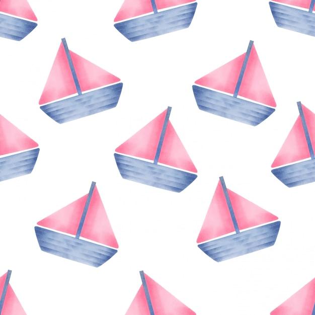 Belle aquarelle baby yatch seamles pattern Vecteur Premium