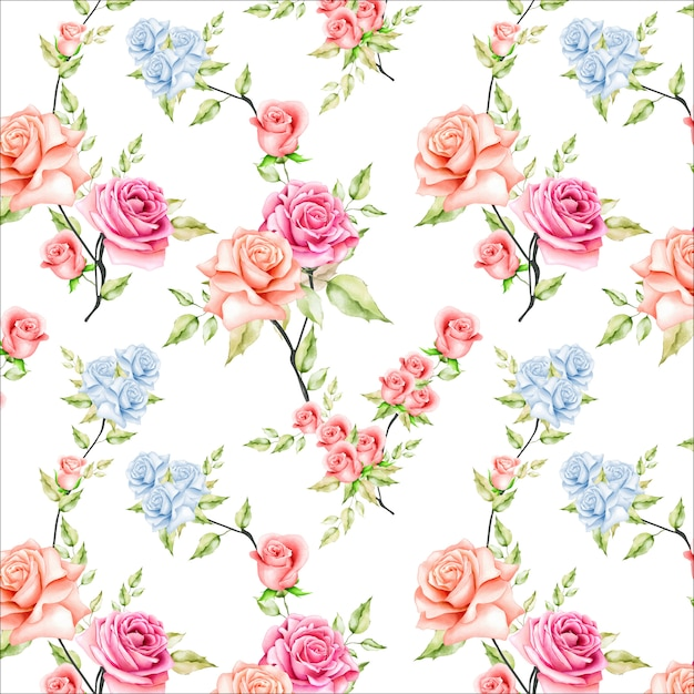 Belle aquarelle floral et feuilles transparente motif Vecteur Premium