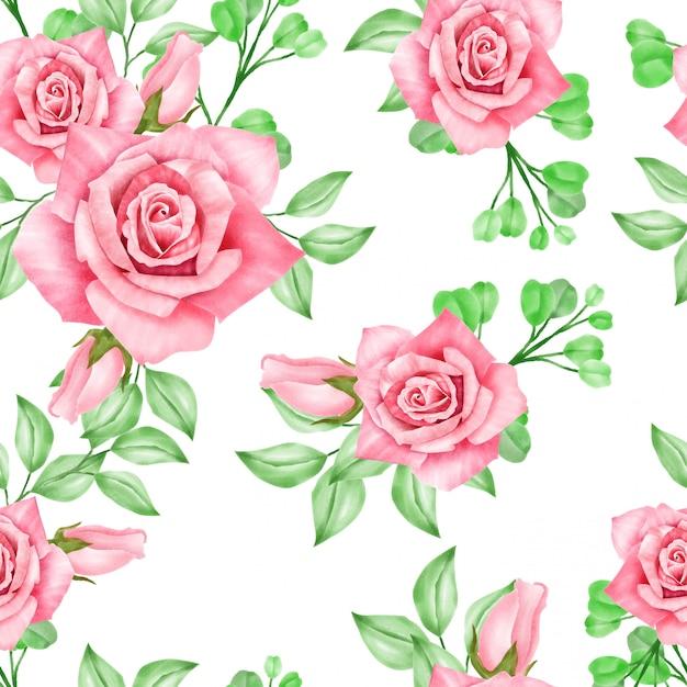 Belle aquarelle floral rose seamles pattern Vecteur Premium