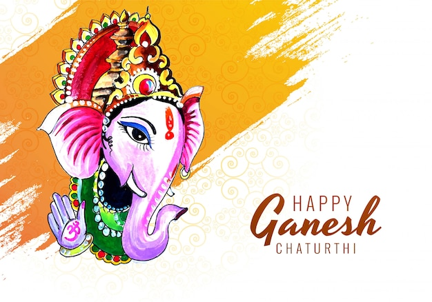 Belle Aquarelle De Seigneur Ganesha Pour Ganesh Chaturthi Vecteur gratuit