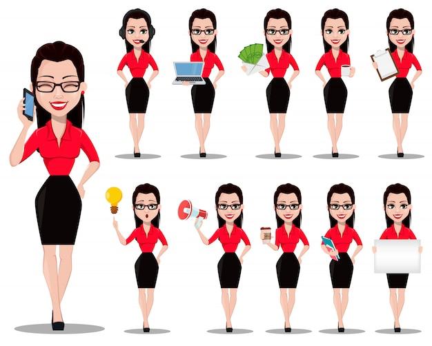 Belle assistante de bureau en tenue de bureau Vecteur Premium