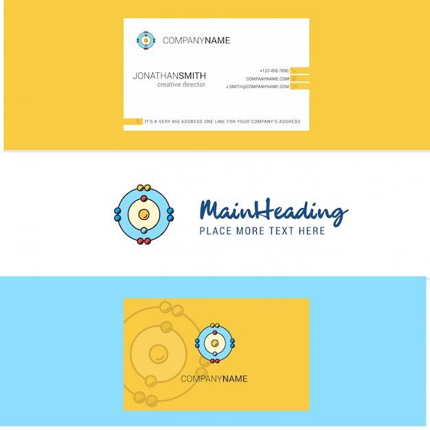 Belle atomes logo et carte de visite. verticale Vecteur Premium