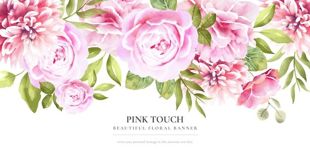 Belle bannière florale avec des fleurs roses Vecteur gratuit