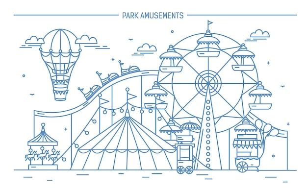 Belle Bannière Horizontale Du Parc D'attractions Vecteur Premium