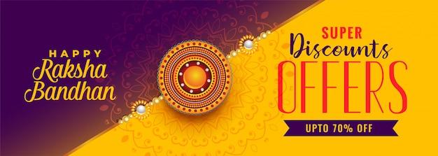 Belle bannière de vente de raksha bandhan Vecteur gratuit