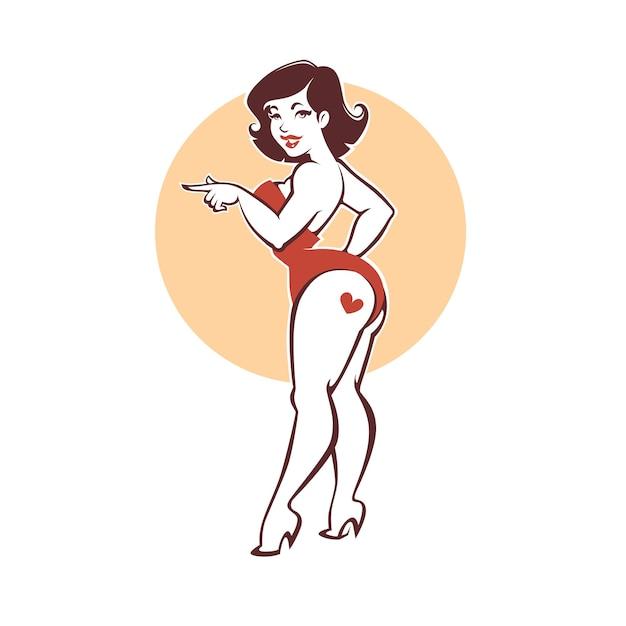Belle Et Beauté Courbe Dame, Plus La Taille Pin Up Girl Sur Fond Beige Vecteur Premium