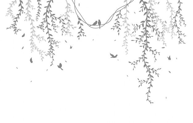 Belle branche d'arbre avec oiseaux silhouette fond Vecteur Premium