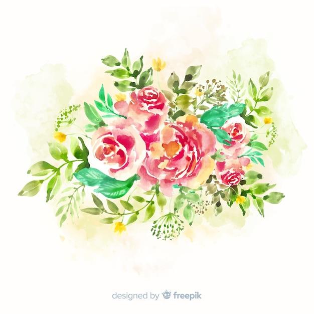 Belle carte de bouquet floral vintage Vecteur gratuit