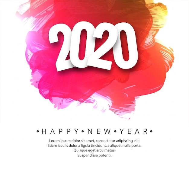 Belle carte de célébration du nouvel an 2020 Vecteur gratuit