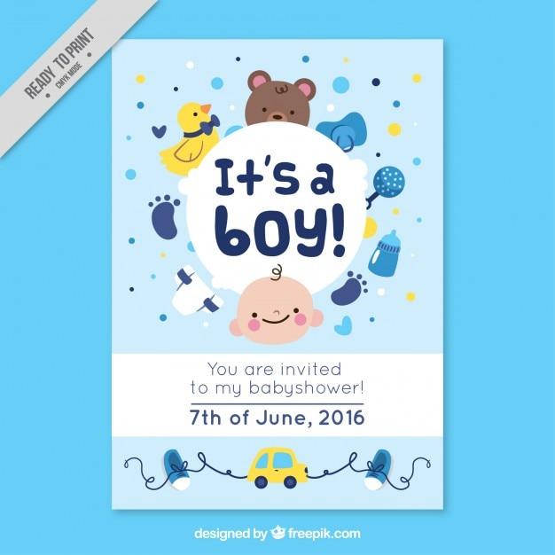 Belle carte de douche de bébé avec de beaux accessoires Vecteur gratuit