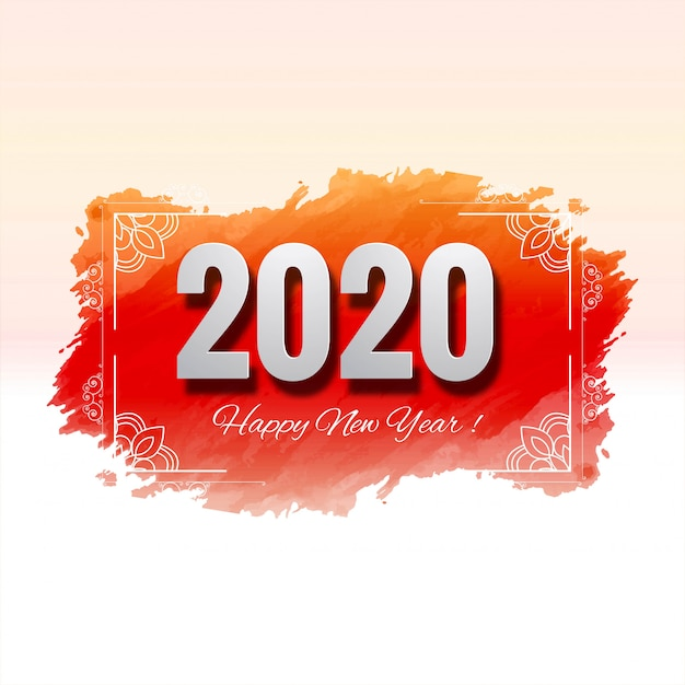 Belle carte de fête du nouvel an 2020 du festival Vecteur gratuit