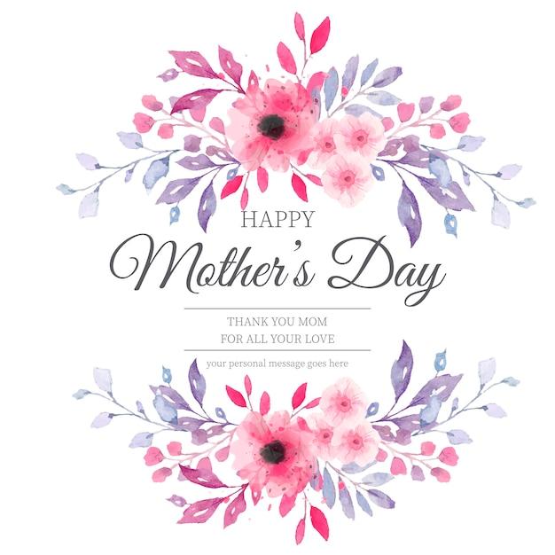 Belle carte de fête des mères avec des fleurs à l'aquarelle Vecteur gratuit