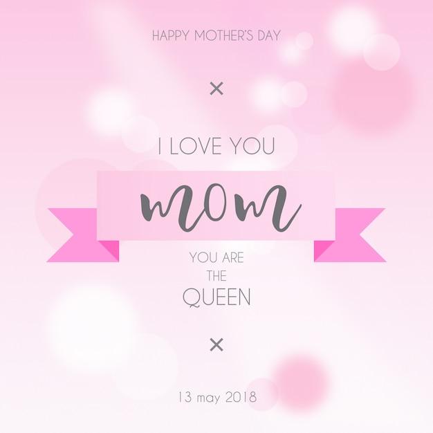 Belle carte de fête des mères rose Vecteur gratuit