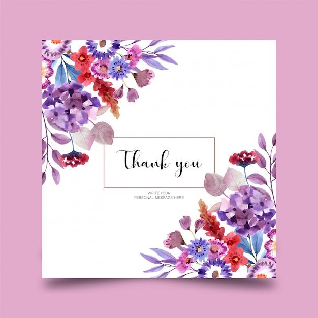 Belle Carte Florale Aquarelle Vecteur Premium