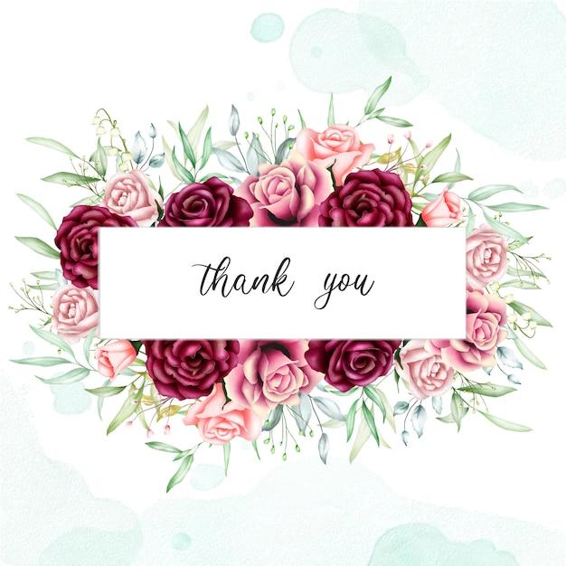 Belle carte florale avec message de remerciement Vecteur Premium
