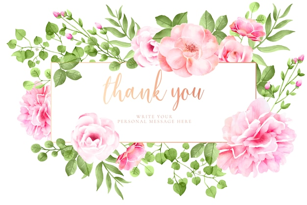 Belle carte florale avec message Vecteur gratuit