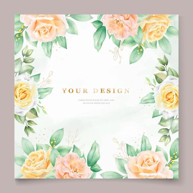 Belle Carte D'invitation De Mariage Aquarelle Vecteur gratuit